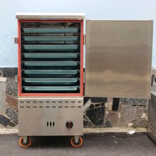 Tủ hấp cơm công nghiệp bằng Gas 8 khay Trung Quốc