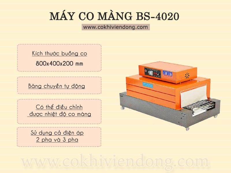 Máy bọc màng co BS 4020- Thiết bị đóng gói mới cho việc sản xuất