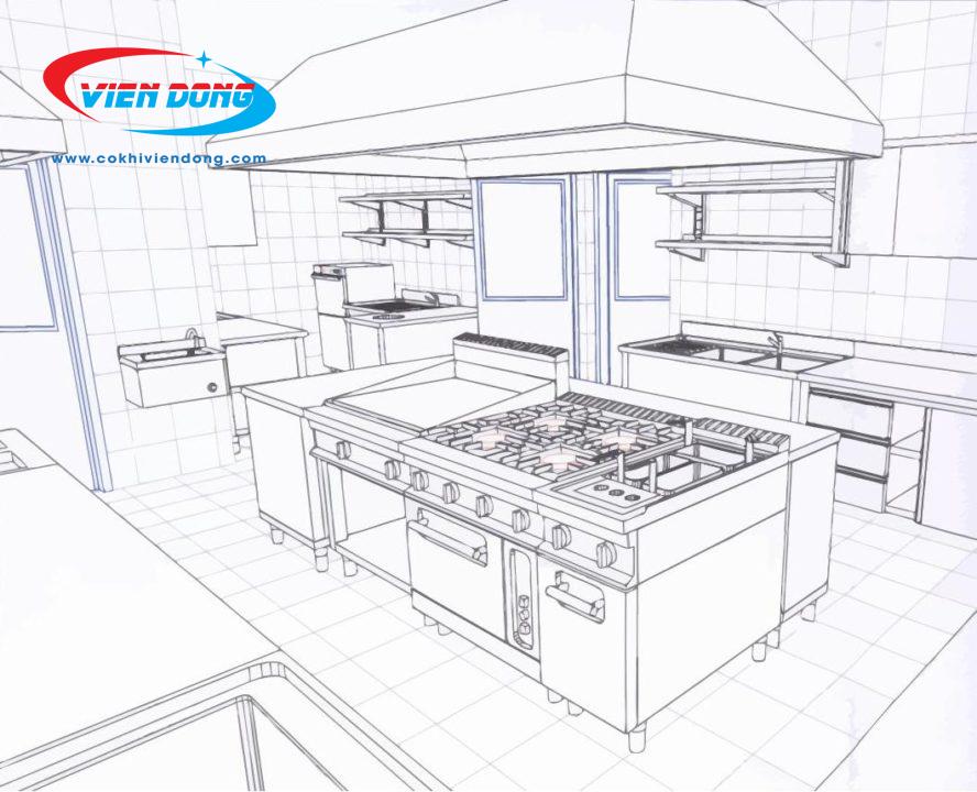 Hệ thống thiết bị bếp công nghiệp trong gian bếp nhà hàng Âu