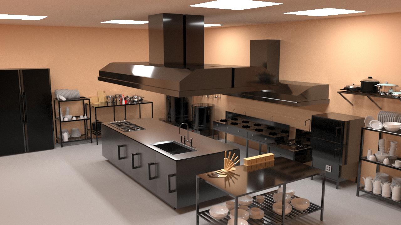 bản bẽ 3D thiết kế bếp nhà hàng