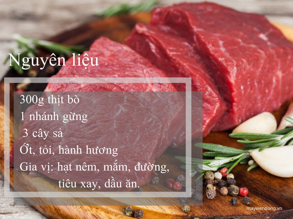 nguyên liệu làm thịt bò hấp sả