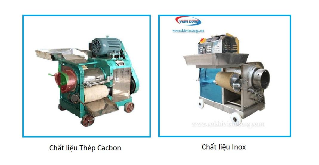 Độ bền máy lọc xương cá Inox 304 cao hơn Thép Cacbon (dù thép cacbon đã được sơn một lớp sơn chống gỉ màu xanh)