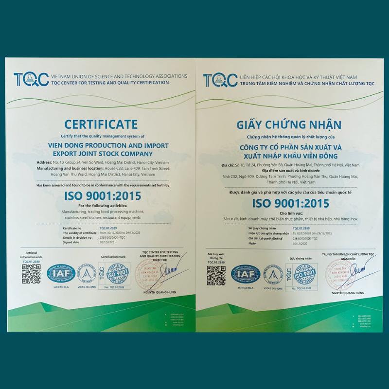 Hệ thống quản lý chất lượng Viễn Đông đạt chứng nhận ISO
